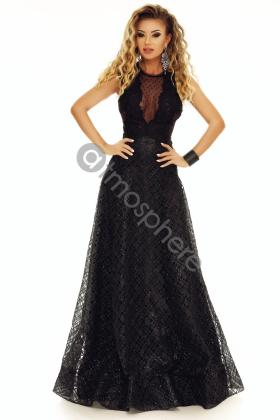Rochie lunga saten roz si colier margele Rn 2024 Rochie lunga neagra si bust din dantela Rn 1711