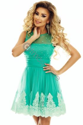 Rochie lunga saten roz si colier margele Rn 2024 Rochie baby-doll cu perle si broderie Rn 1720