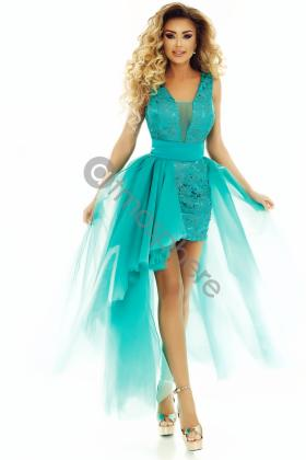 Rochie baby-doll ciclam Rn 1777 Rochie scurta dantela turquoise cu trena Rn 1722