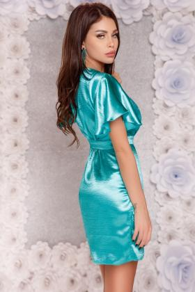 Sarafan bucle pastelat si piele ecologica Rn 1657 Rochie scurta turquoise petrecuta Rn 1794