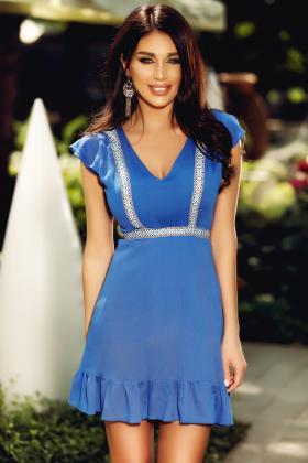 Rochie baby doll RN 1730 an  Rochie casual scurta albastra cu motive traditionale Rn 1825