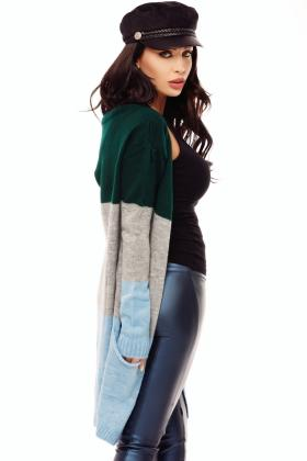 Cardigan tricot verde maneci colorate Tr 8016v Cardigan tricot colorat Tr 6095v