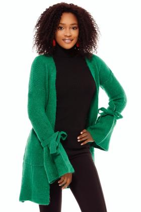 Cardigan tricot verde maneci colorate Tr 8016v Cardigan tricot verde snur maneci Tr 8043v