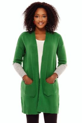 Cardigan casual mov din tricot Cd 946 Cardigan tricot verde maneci colorate Tr 8016v