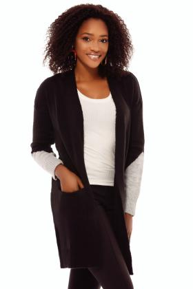 Cardigan tricot verde maneci colorate Tr 8016v Cardigan tricot negru maneci colorate Tr 8016n