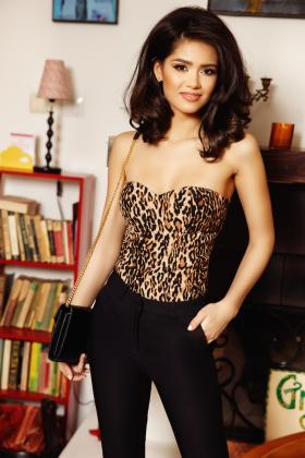Bustiera alba sexy Cr 892a Corset animal print CR 891