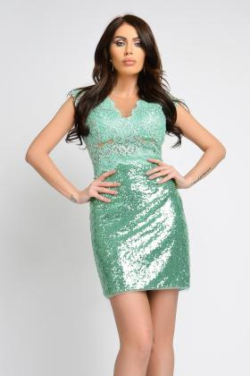 Rochie baby-doll dantela albastra si tul rose Rn 642t Rochie scurta dantela si paiete mint Rn 2325