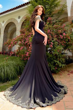 Rochie lunga paiete albastre cameleon Rn 2394 Rochie lunga lycra neagra si broderie aurie Rn 2374