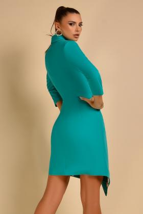 Rochie scurta turquoise si colier auriu Rn 1083 Sacou-rochie turquoise Rn 1110