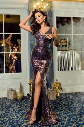 Rochie baby-doll somon Rn 2299 Rochie lunga paiete colorate Rn 2612