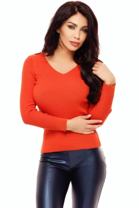 Pulovere dama Pulover orange dungi Tr 185o